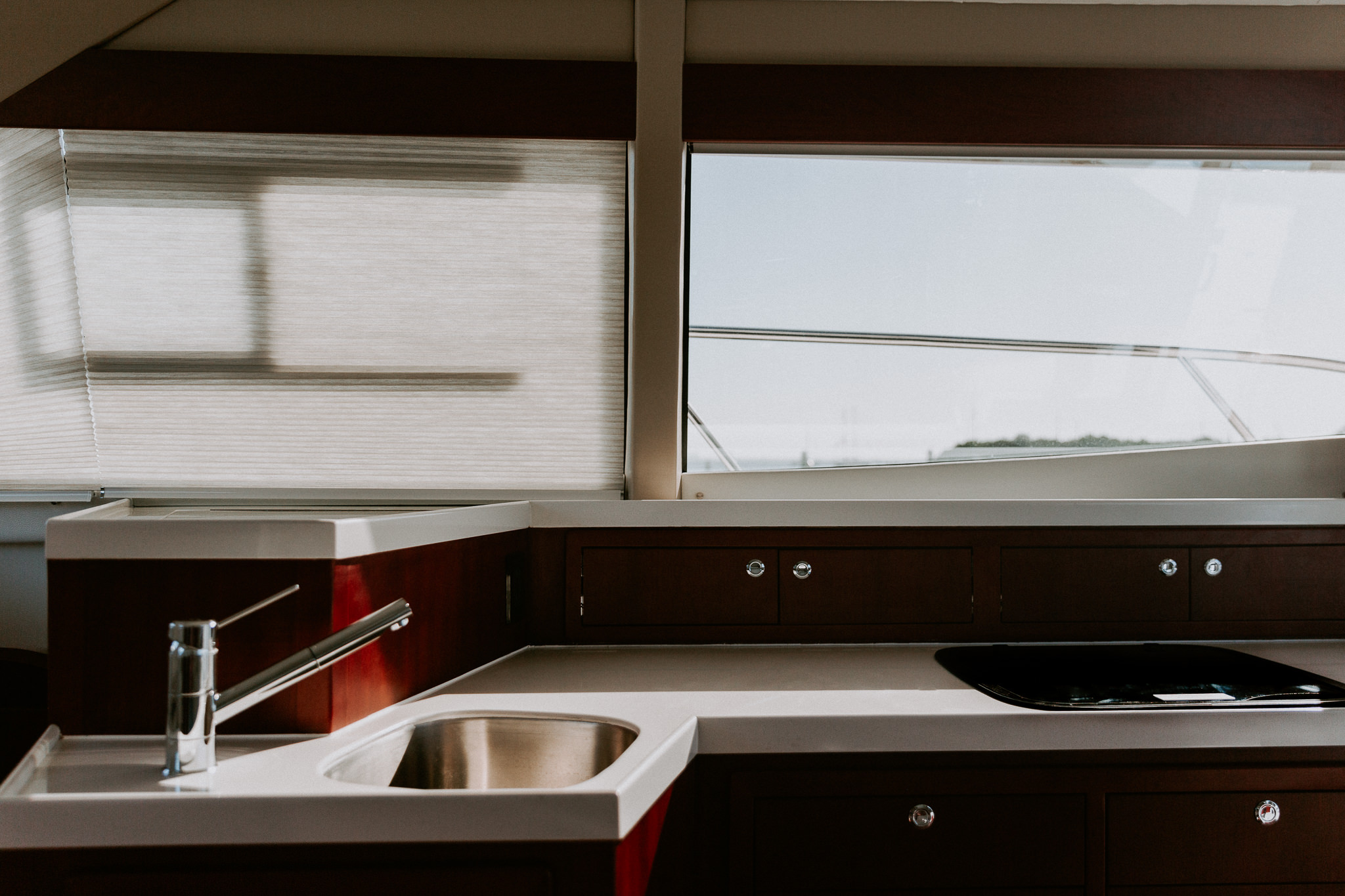 Galley with the boat blinds down